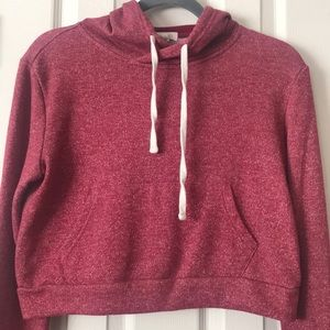 Forever 21 Red Crop Hoodie Size M